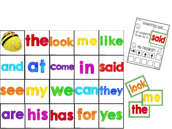 Sight word Mat and programming cards