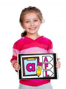 Kindergarten child using Boom cards on an iPad